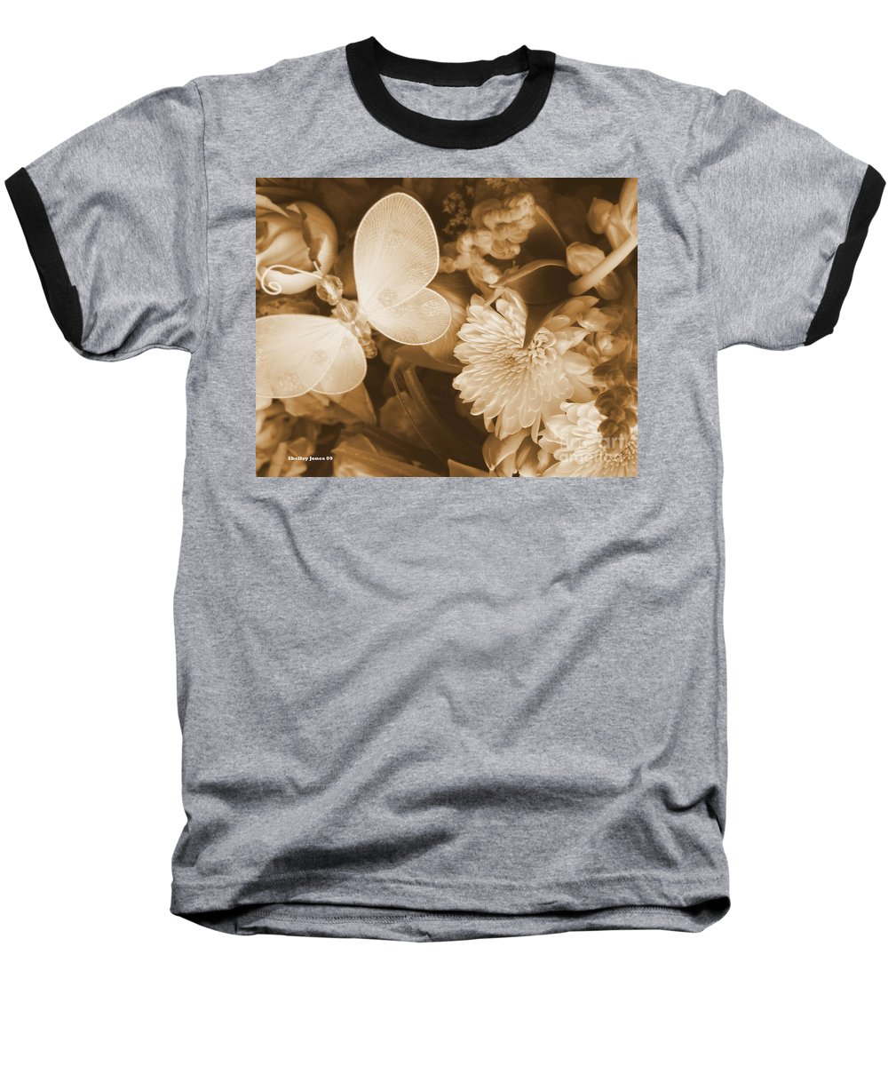 Photography Enhanced Baseball T-Shirt featuring the photograph Silent Transformation Of Existence by Shelley Jones