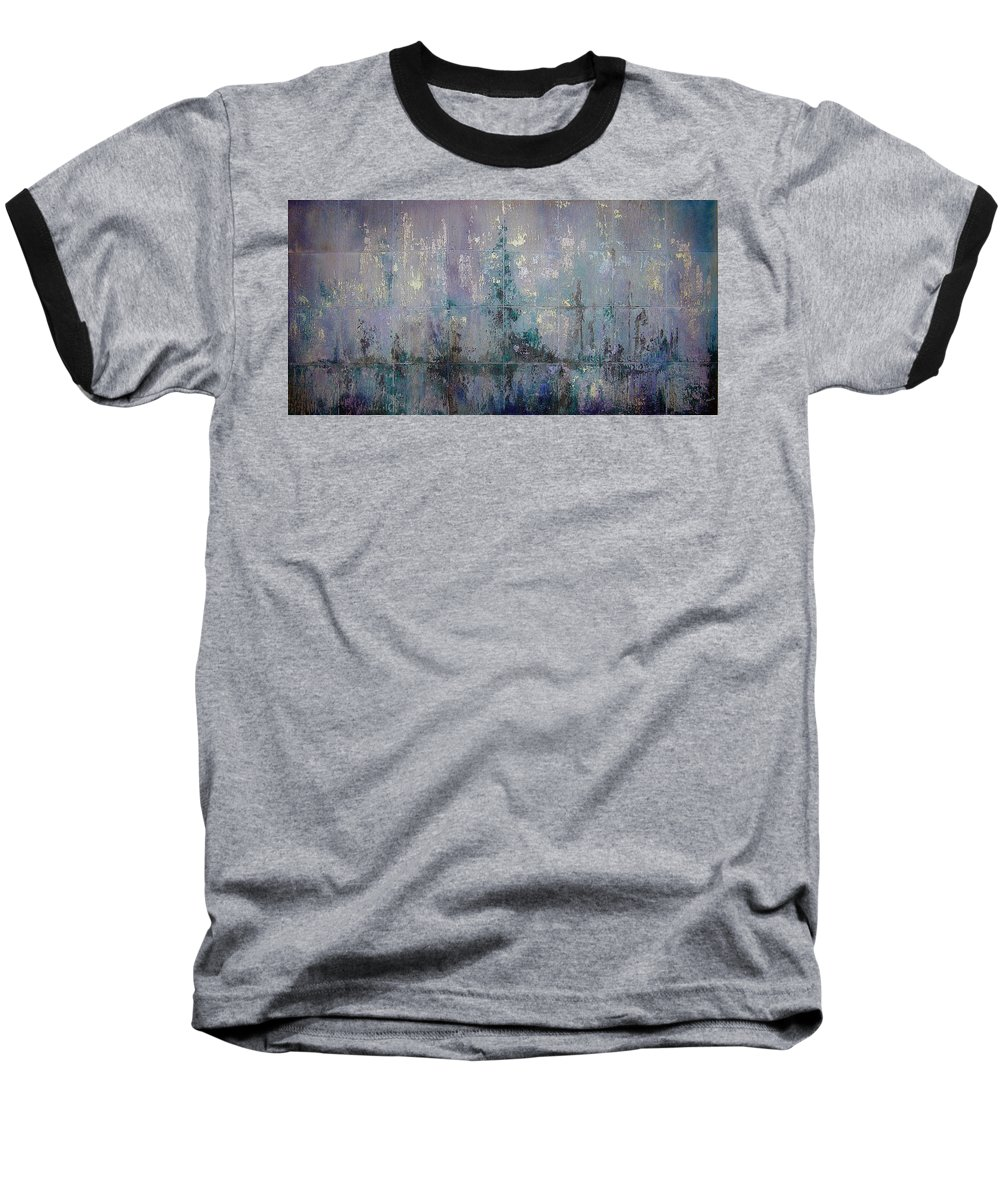 Abstract Baseball T-Shirt featuring the painting Silver And Silent by Shadia Derbyshire