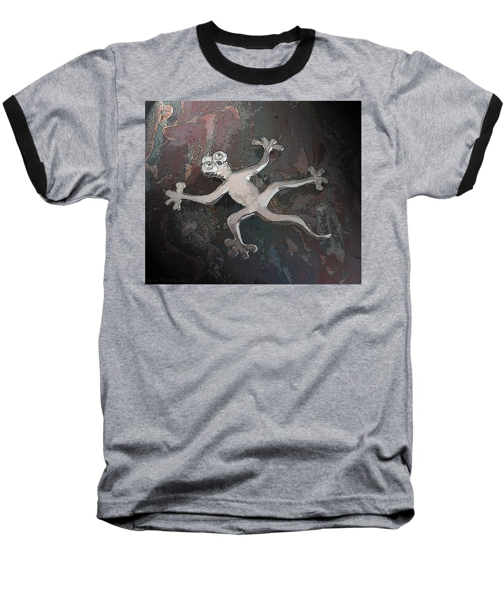 Silver Baseball T-Shirt featuring the digital art Silver Lizard by Merja Waters