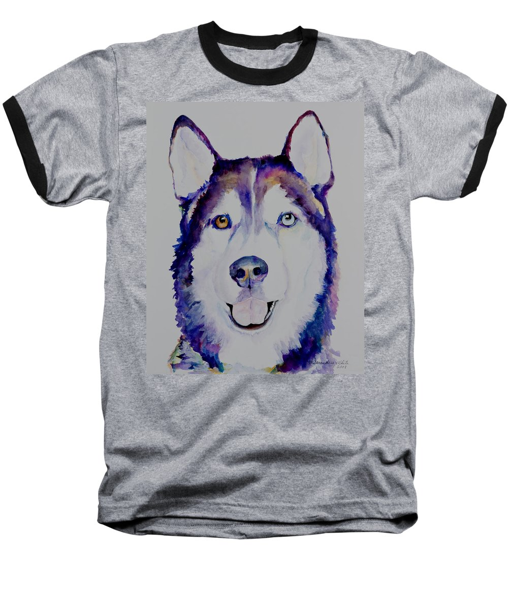 Siberian Husky Baseball T-Shirt featuring the painting Simba by Pat Saunders-White