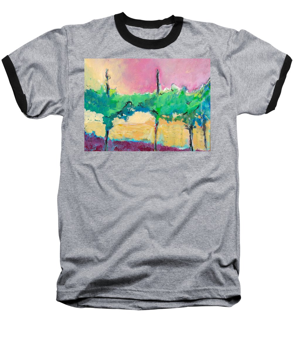 Vineyard Baseball T-Shirt featuring the painting Simpatico by Kurt Hausmann