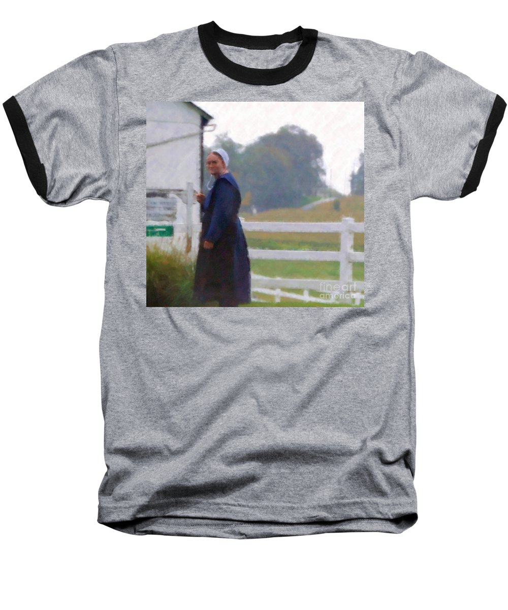Amish Baseball T-Shirt featuring the photograph Simple Living by Debbi Granruth