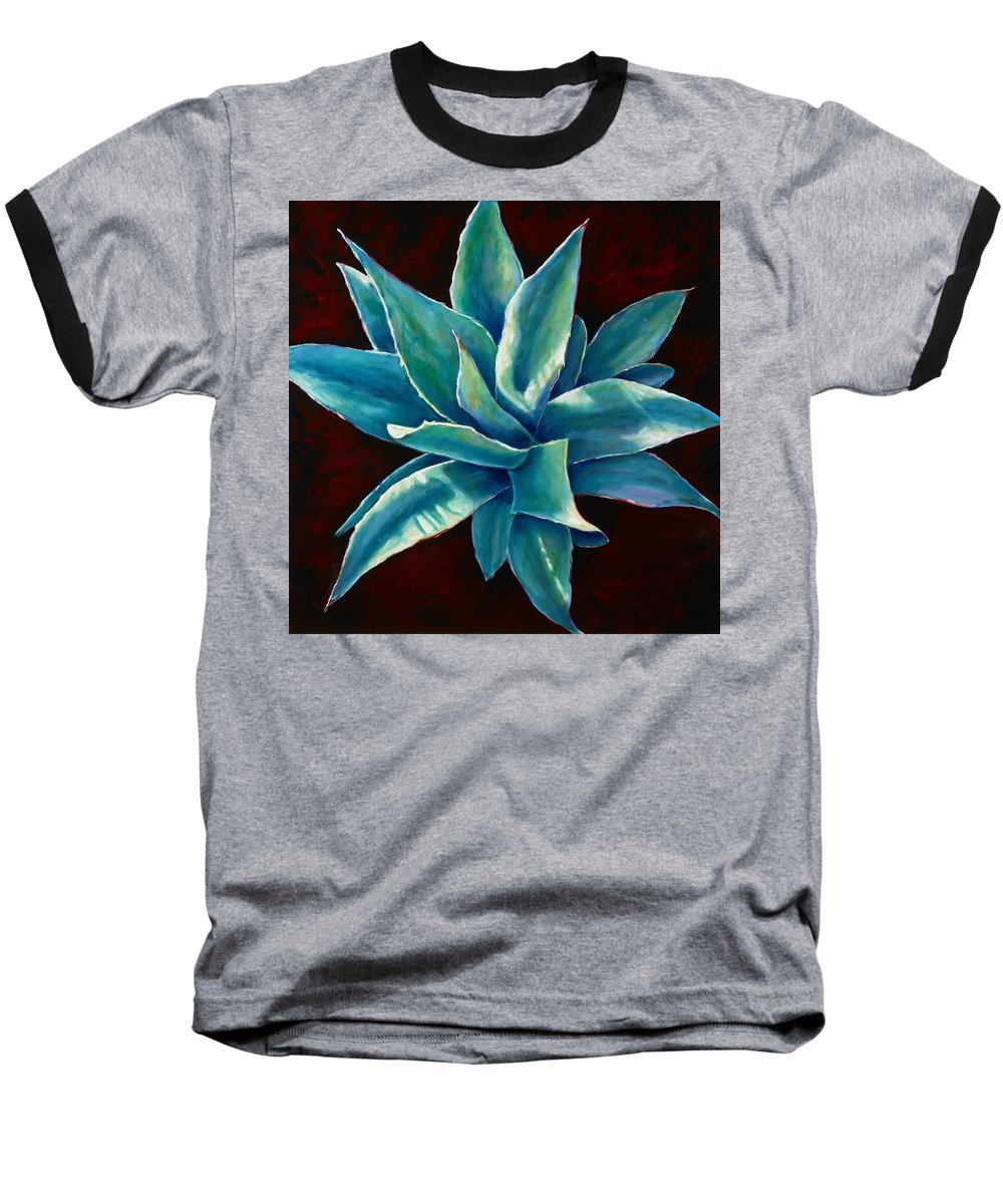 Agave Baseball T-Shirt featuring the painting Simply Succulent by Shannon Grissom