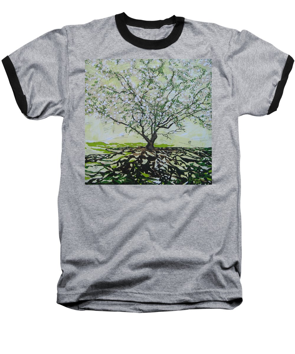 Apple Tree Baseball T-Shirt featuring the painting Sincerely-the Curator by Leah Tomaino
