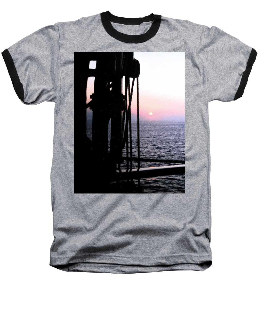 Ship Baseball T-Shirt featuring the photograph Sinking Sun by Ian MacDonald