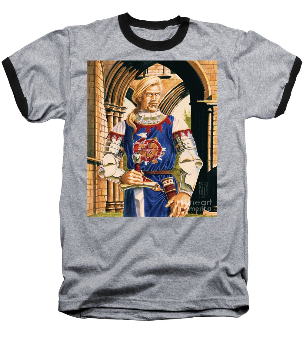 Swords Baseball T-Shirt featuring the painting Sir Dinadan by Melissa A Benson