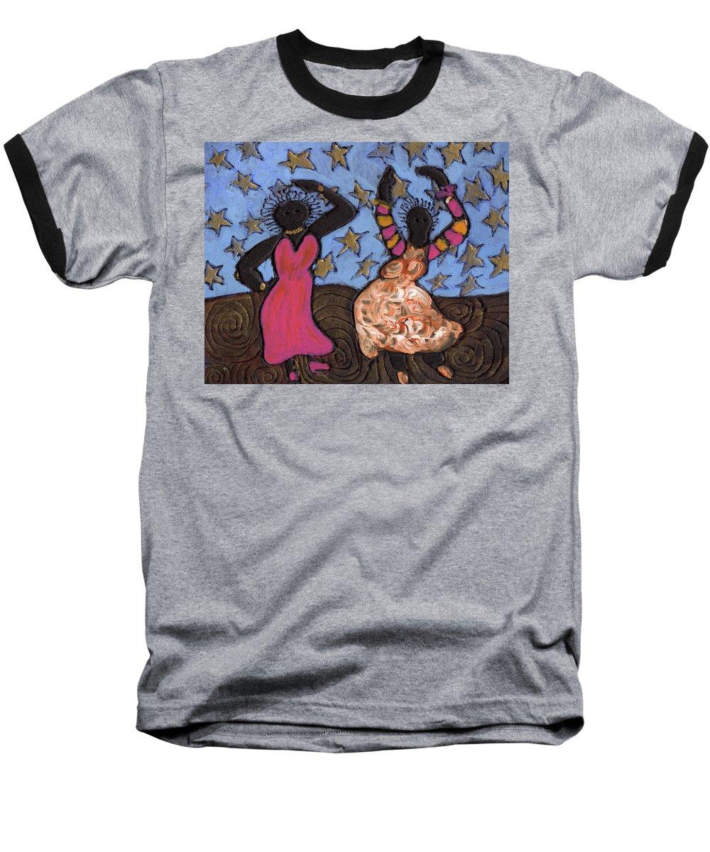 Folk Art Baseball T-Shirt featuring the painting Sisters Sarah Sue And Sally Mae Swinging The Night Away by Wayne Potrafka