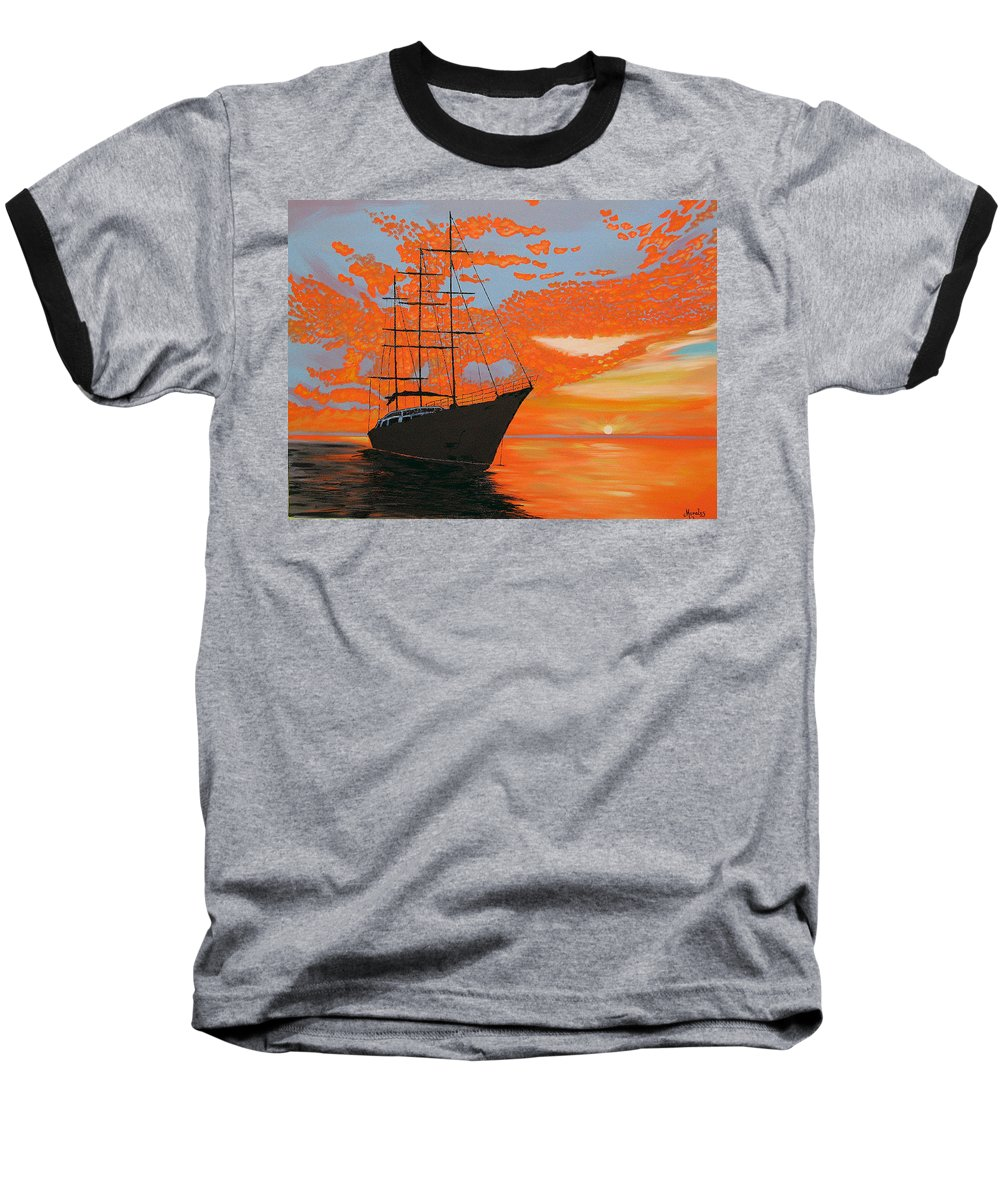 Seascape Baseball T-Shirt featuring the painting Sittin' On The Bay by Marco Morales