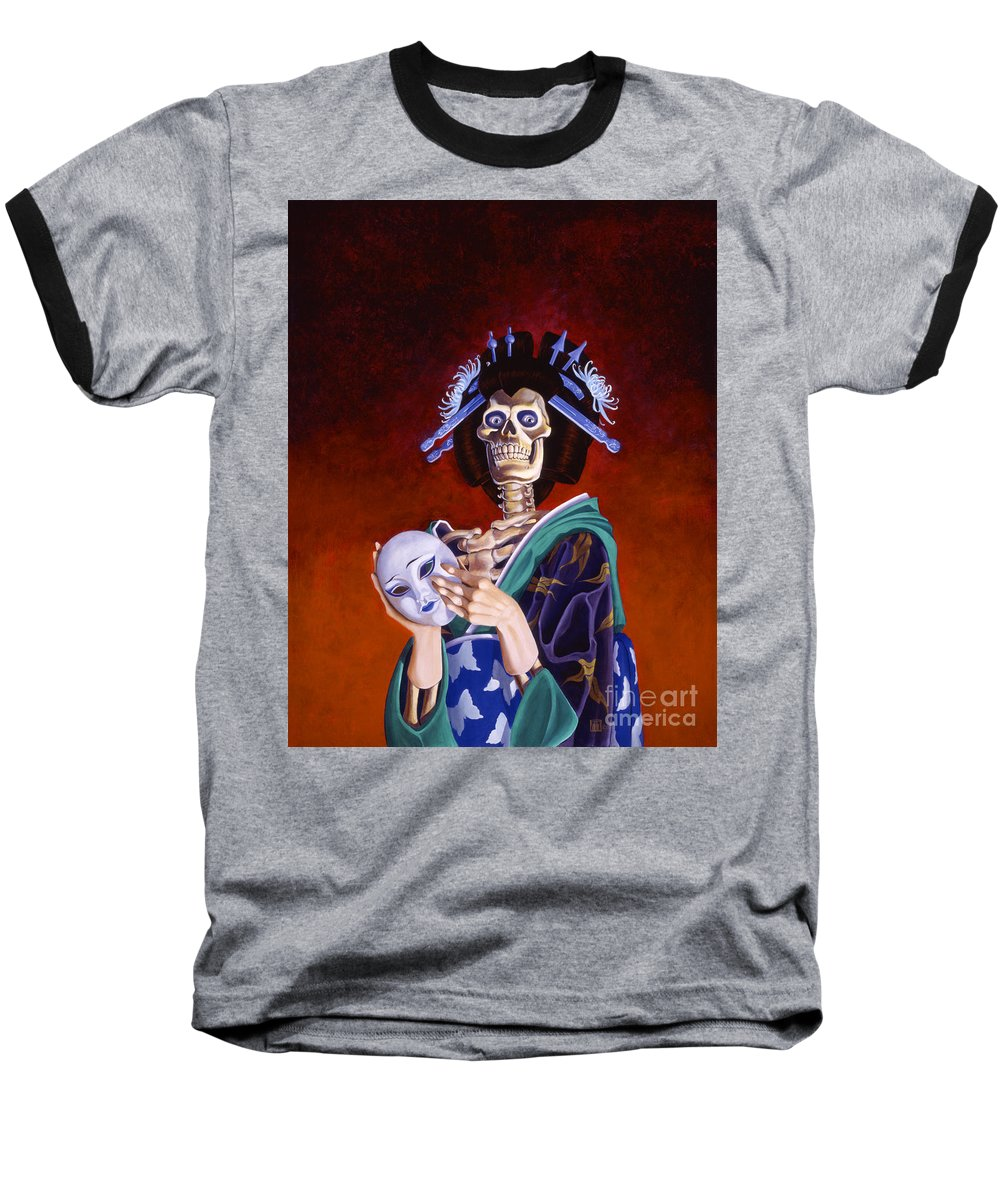 Skeleton Baseball T-Shirt featuring the painting Skeletal Geisha With Mask by Melissa A Benson