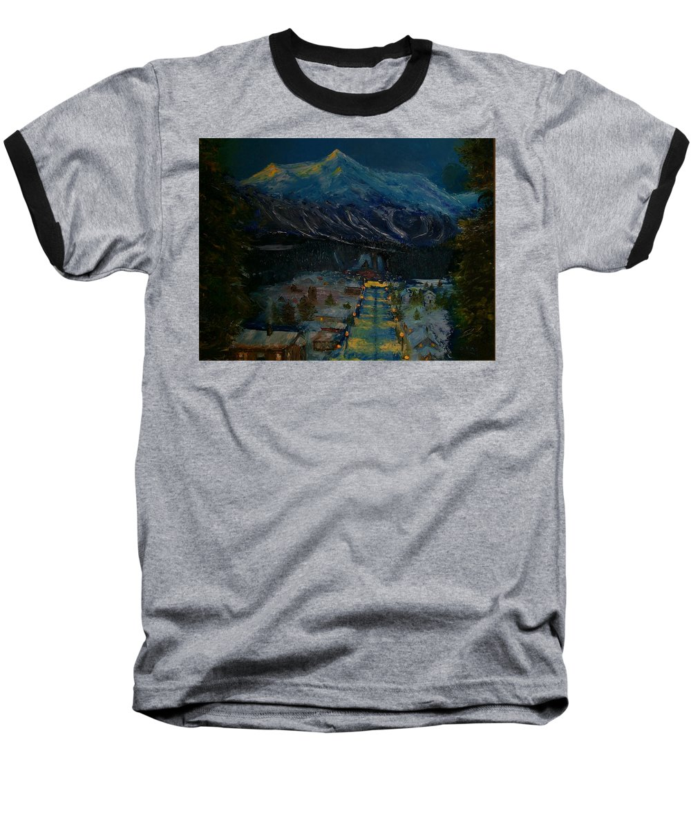 Winter Baseball T-Shirt featuring the painting Ski Resort by Stephen King