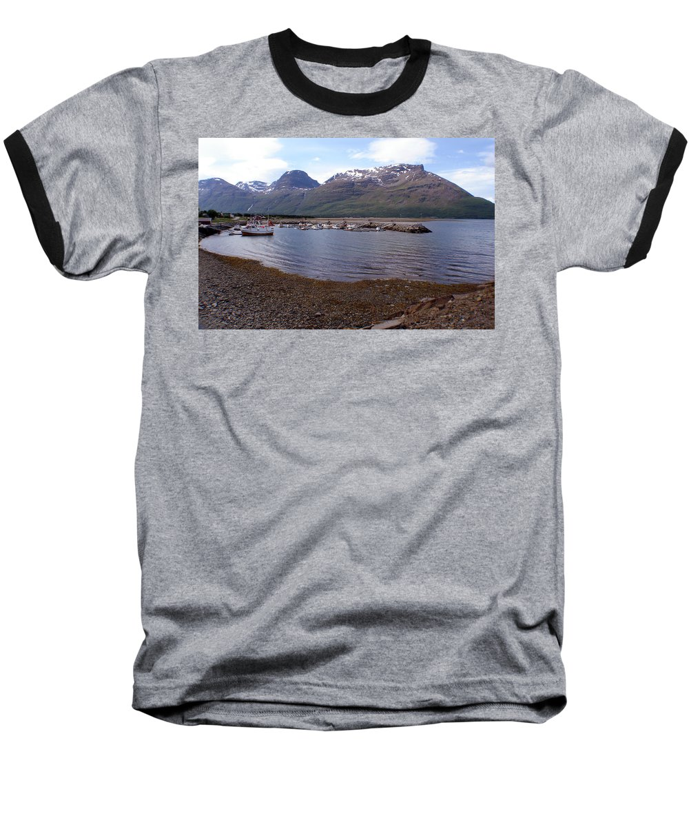 Skibotn Baseball T-Shirt featuring the photograph Skibotn Harbor Norway by Merja Waters