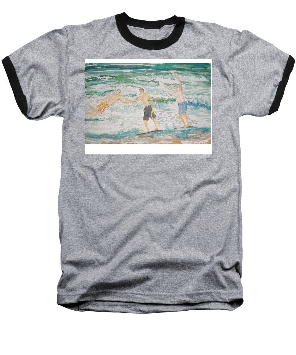 Seascape Baseball T-Shirt featuring the painting Skim Boarding Daytona Beach by Hal Newhouser