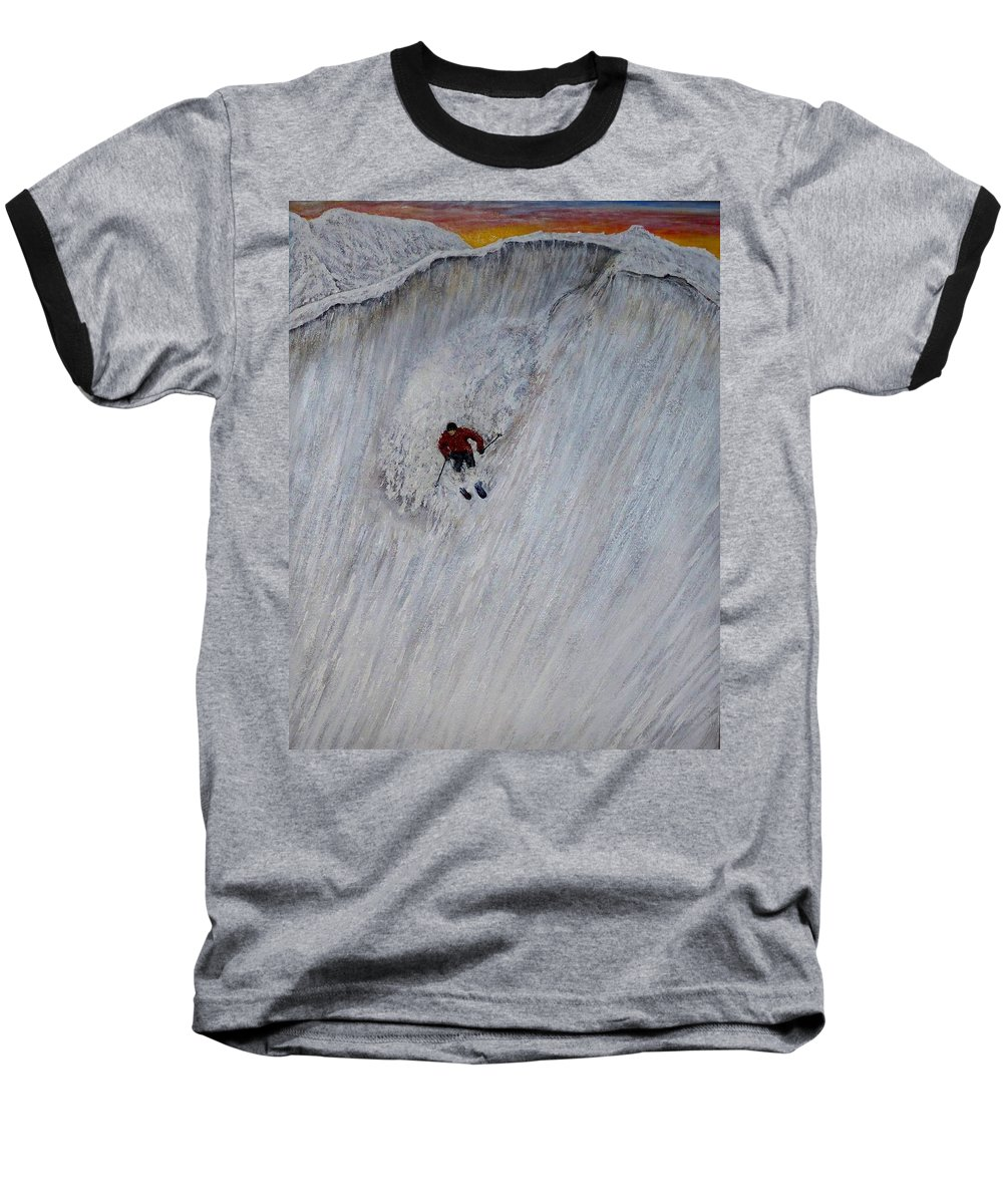Landscape Baseball T-Shirt featuring the painting Skitilthend by Michael Cuozzo