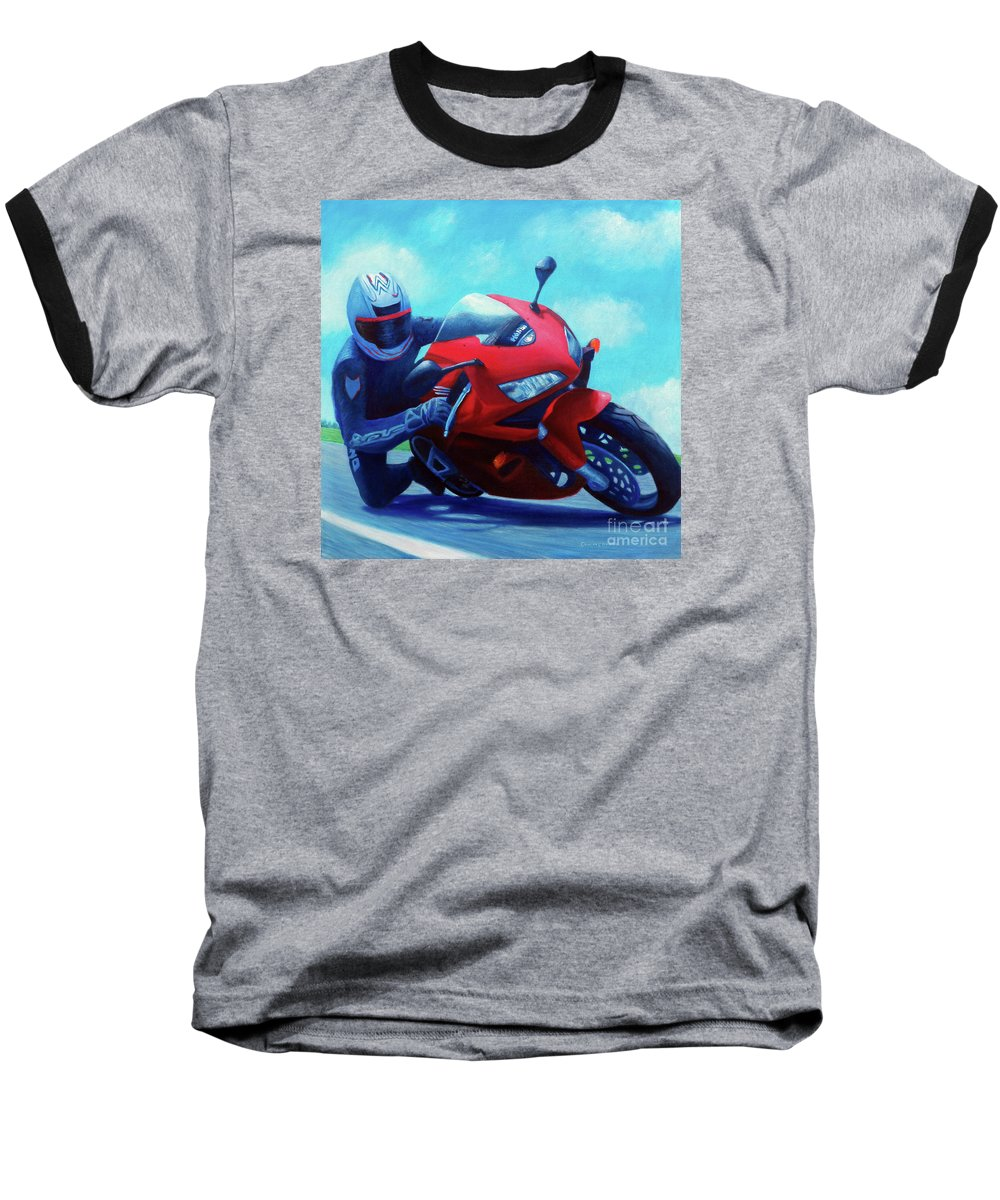 Motorcycle Baseball T-Shirt featuring the painting Sky Pilot - Honda Cbr600 by Brian Commerford