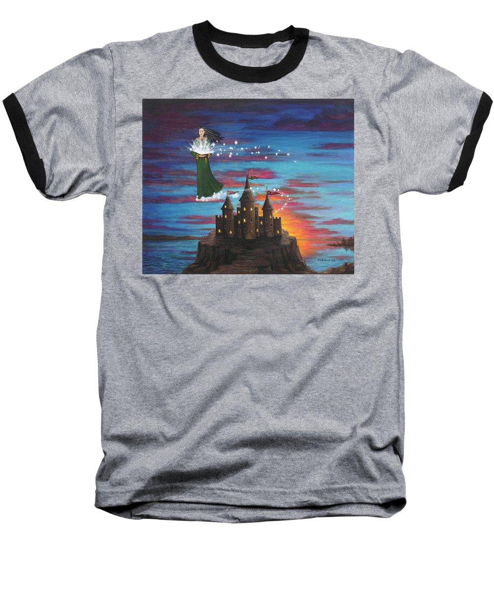 Wizard Baseball T-Shirt featuring the digital art Sky Walker by Roz Eve