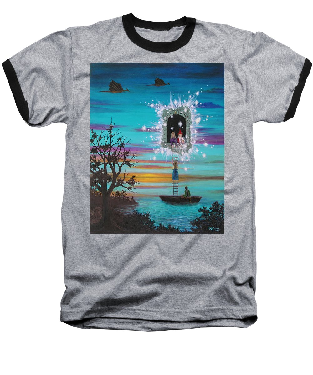 Fantasy Baseball T-Shirt featuring the painting Sky Window by Roz Eve