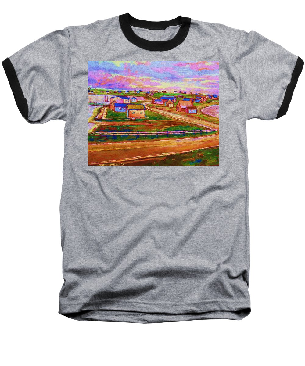 Sunrise Baseball T-Shirt featuring the painting Sleepy Little Village by Carole Spandau