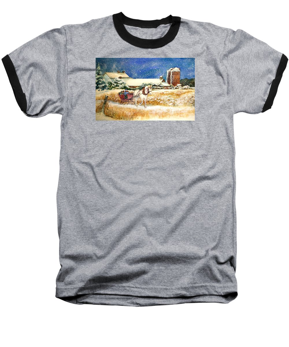 Watercolor;sleigh;horse;barn;silos;winter;snow;sleigh Ride;christmas; Baseball T-Shirt featuring the painting Sleigh Ride At Brickers by Lois Mountz