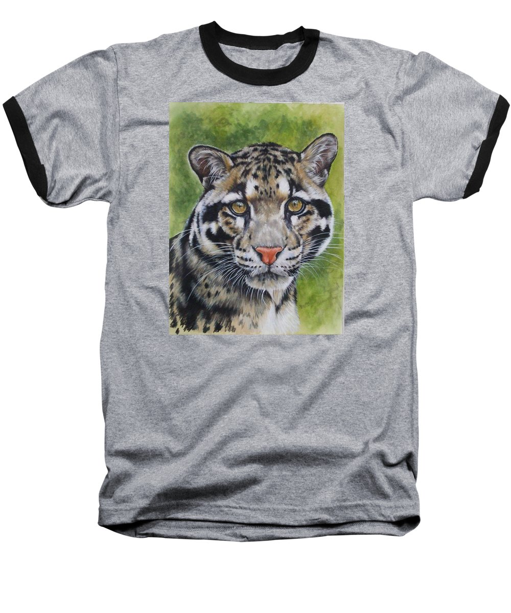 Clouded Leopard Baseball T-Shirt featuring the mixed media Small But Powerful by Barbara Keith
