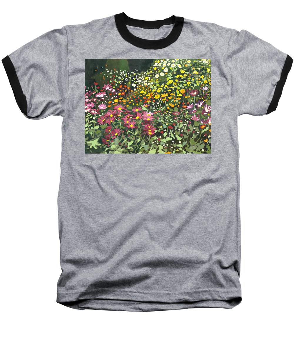 Floral Baseball T-Shirt featuring the painting Smith Mums by Leah Tomaino