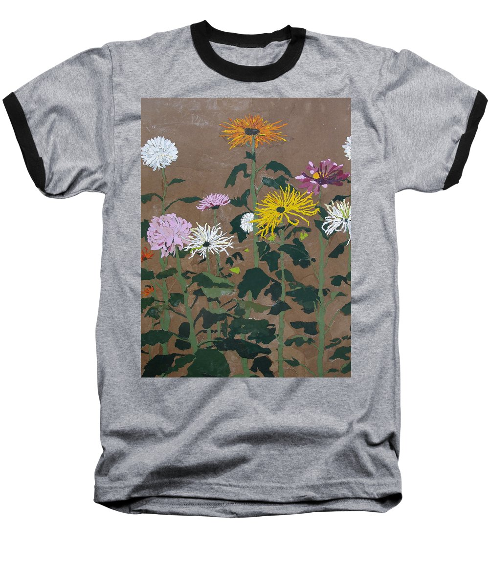 Collage Baseball T-Shirt featuring the painting Smith's Giant Chrysanthemums by Leah Tomaino