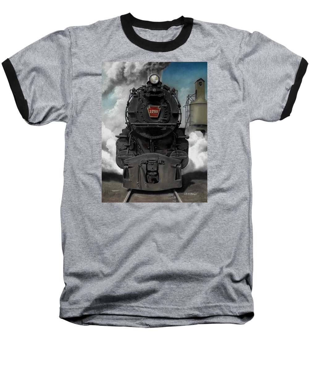 Trains Baseball T-Shirt featuring the painting Smoke And Steam by David Mittner