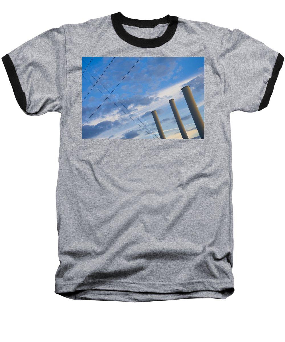 Blue Baseball T-Shirt featuring the photograph Smoke Stax by Skip Hunt