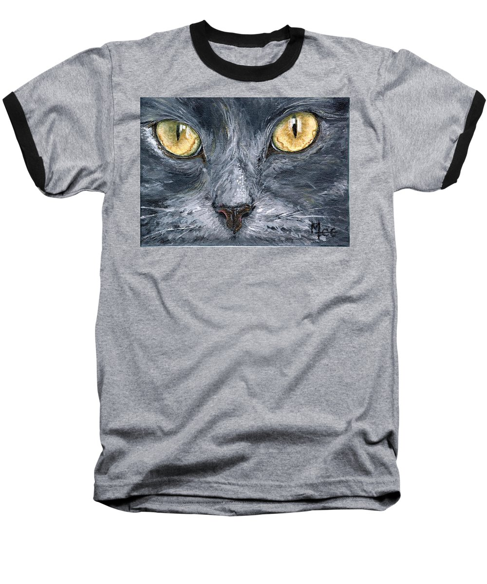 Charity Baseball T-Shirt featuring the painting Smokey by Mary-Lee Sanders