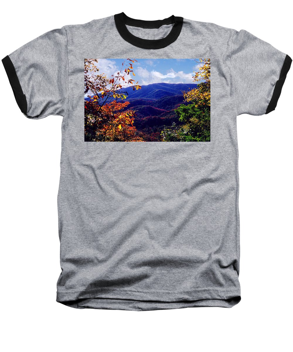 Mountain Baseball T-Shirt featuring the photograph Smoky Mountain Autumn View by Nancy Mueller
