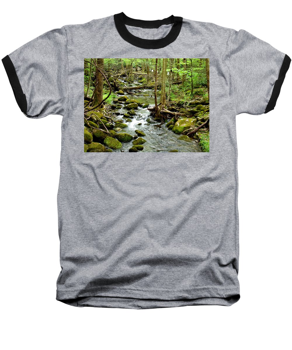 Smoky Mountains Baseball T-Shirt featuring the photograph Smoky Mountain Stream 1 by Nancy Mueller