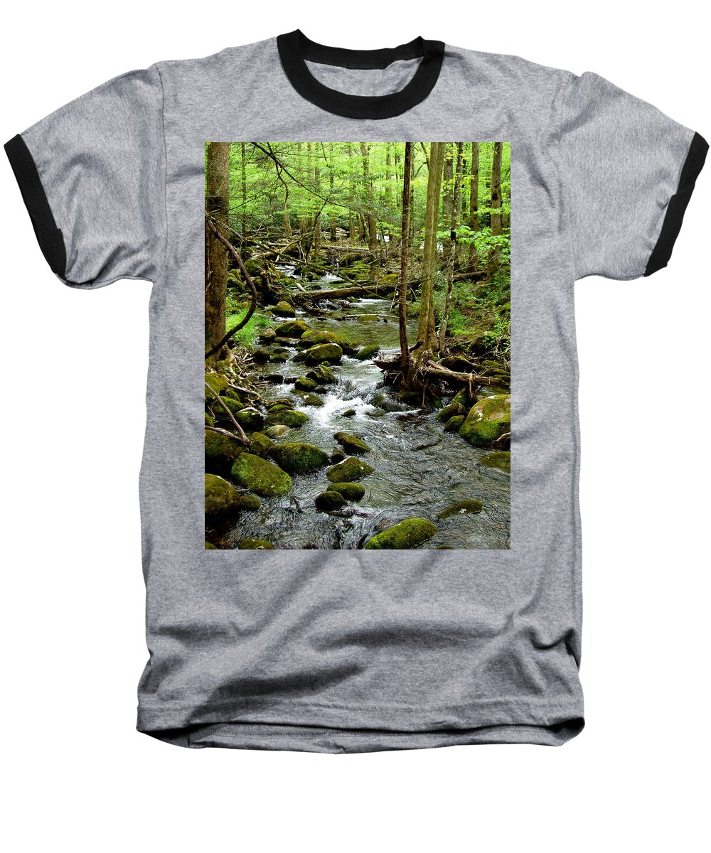 River Baseball T-Shirt featuring the photograph Smoky Mountain Stream 2 by Nancy Mueller