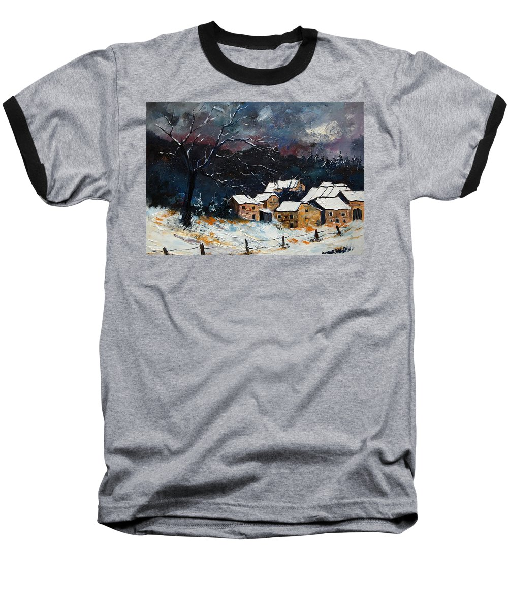 Snow Baseball T-Shirt featuring the painting Snow 57 by Pol Ledent