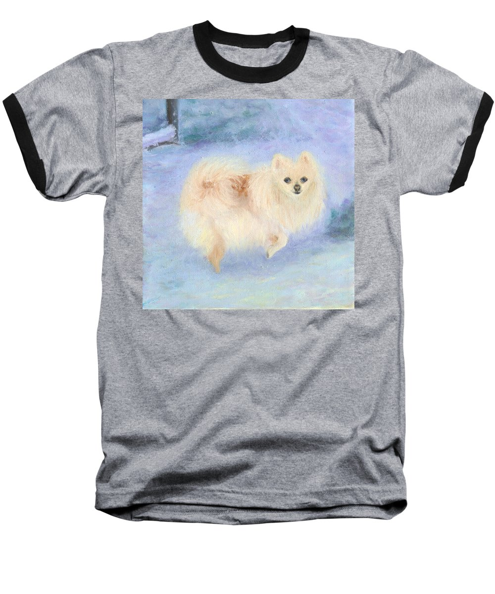 Dog Baseball T-Shirt featuring the painting Snow Angel by Paula Emery