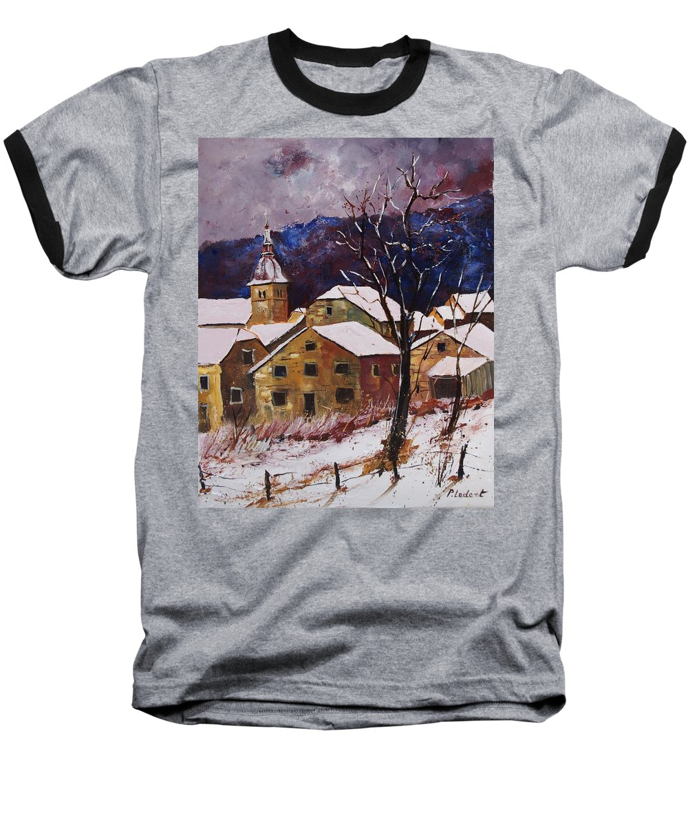 Landscape Baseball T-Shirt featuring the painting Snow In Chassepierre by Pol Ledent