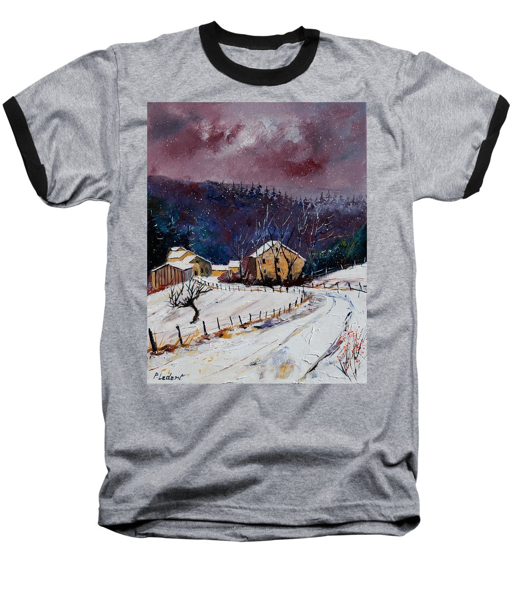 Landscape Baseball T-Shirt featuring the painting Snow In Sechery by Pol Ledent
