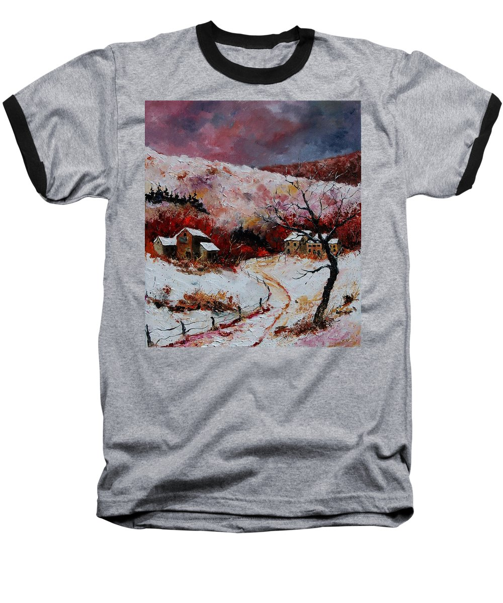 Snow Baseball T-Shirt featuring the painting Snow In The Ardennes 78 by Pol Ledent