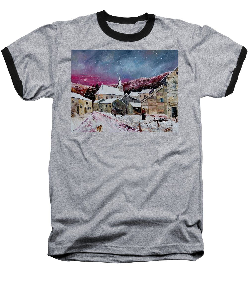 Snow Baseball T-Shirt featuring the painting Snow Is Falling by Pol Ledent