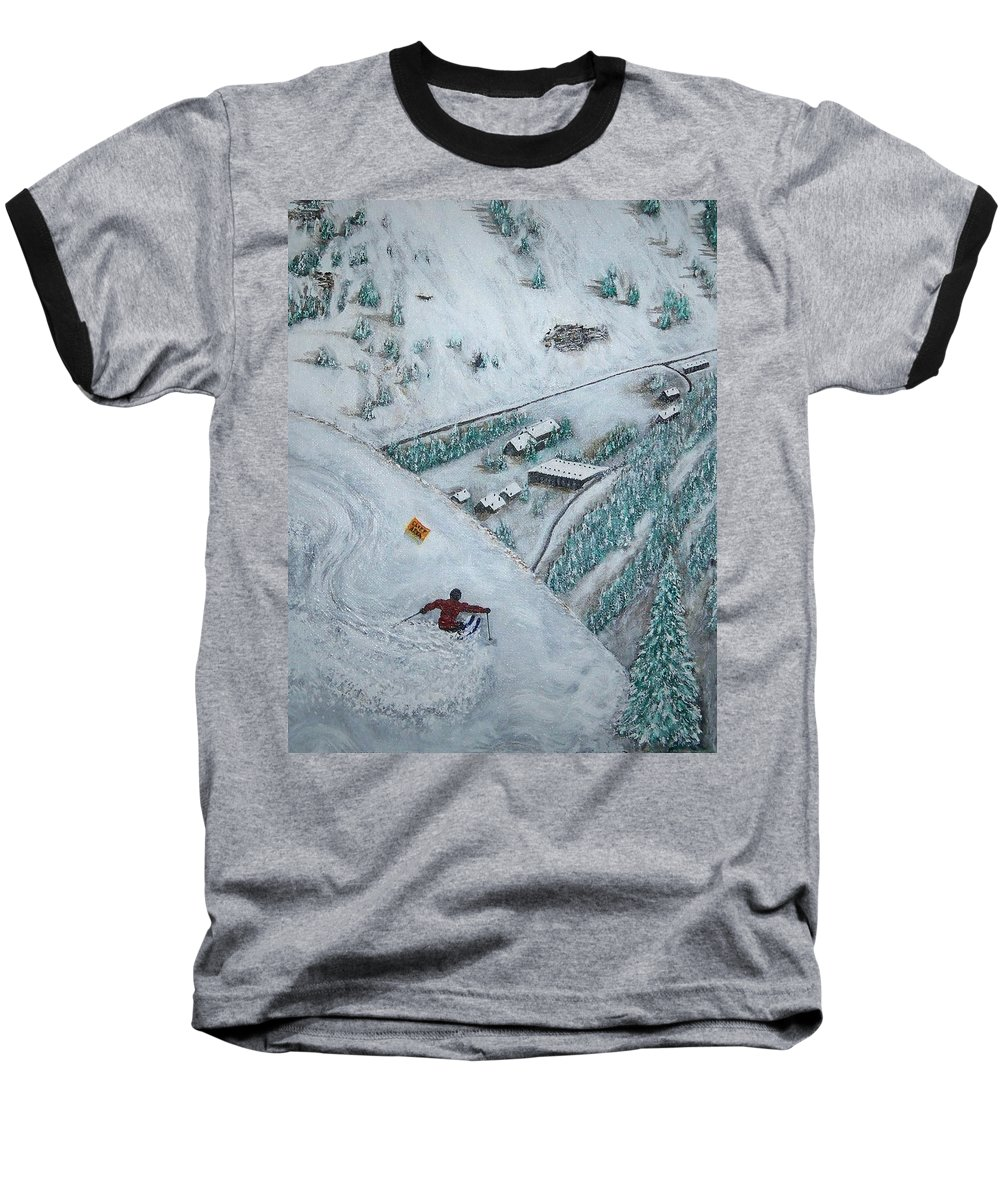 Ski Baseball T-Shirt featuring the painting Snowbird Steeps by Michael Cuozzo