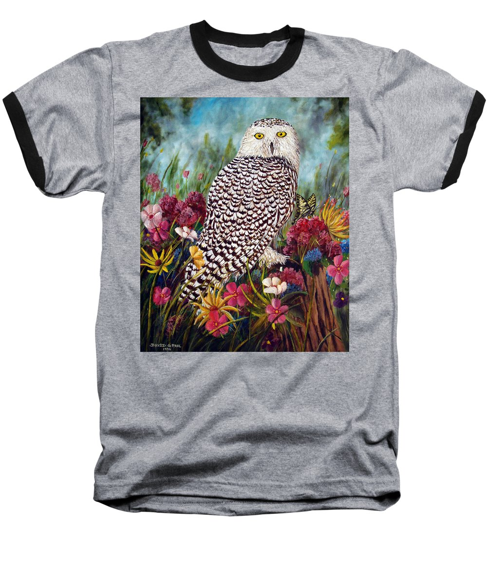 Owl Baseball T-Shirt featuring the painting Snowy Owl by David G Paul