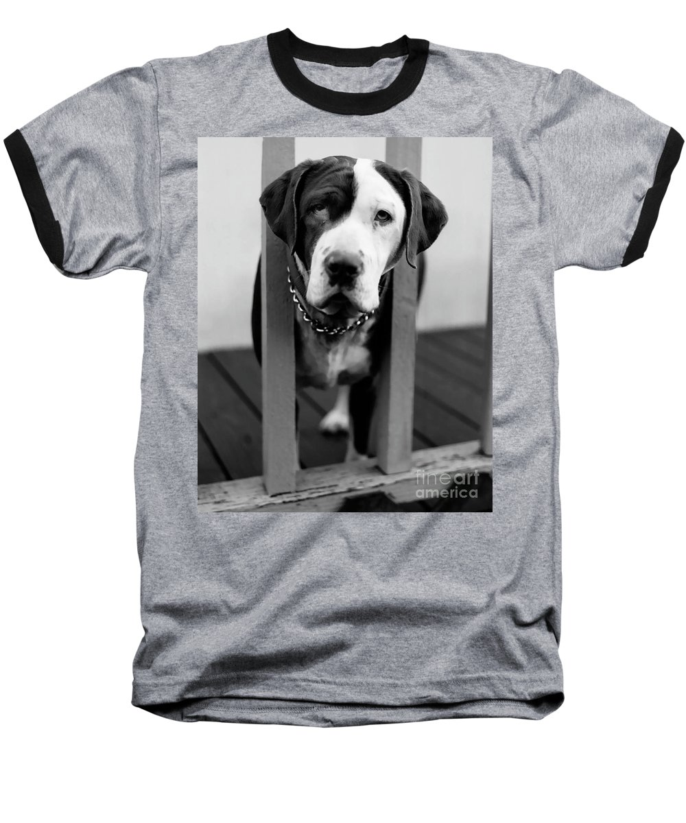 Black And White Baseball T-Shirt featuring the photograph So Sad by Peter Piatt