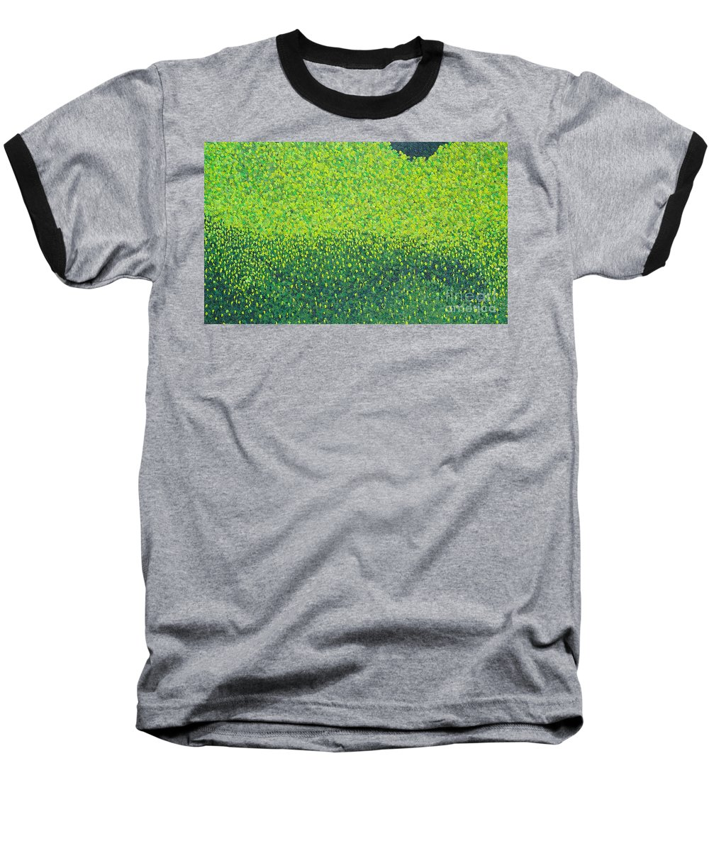Abstract Baseball T-Shirt featuring the painting Soft Green Wet Trees by Dean Triolo