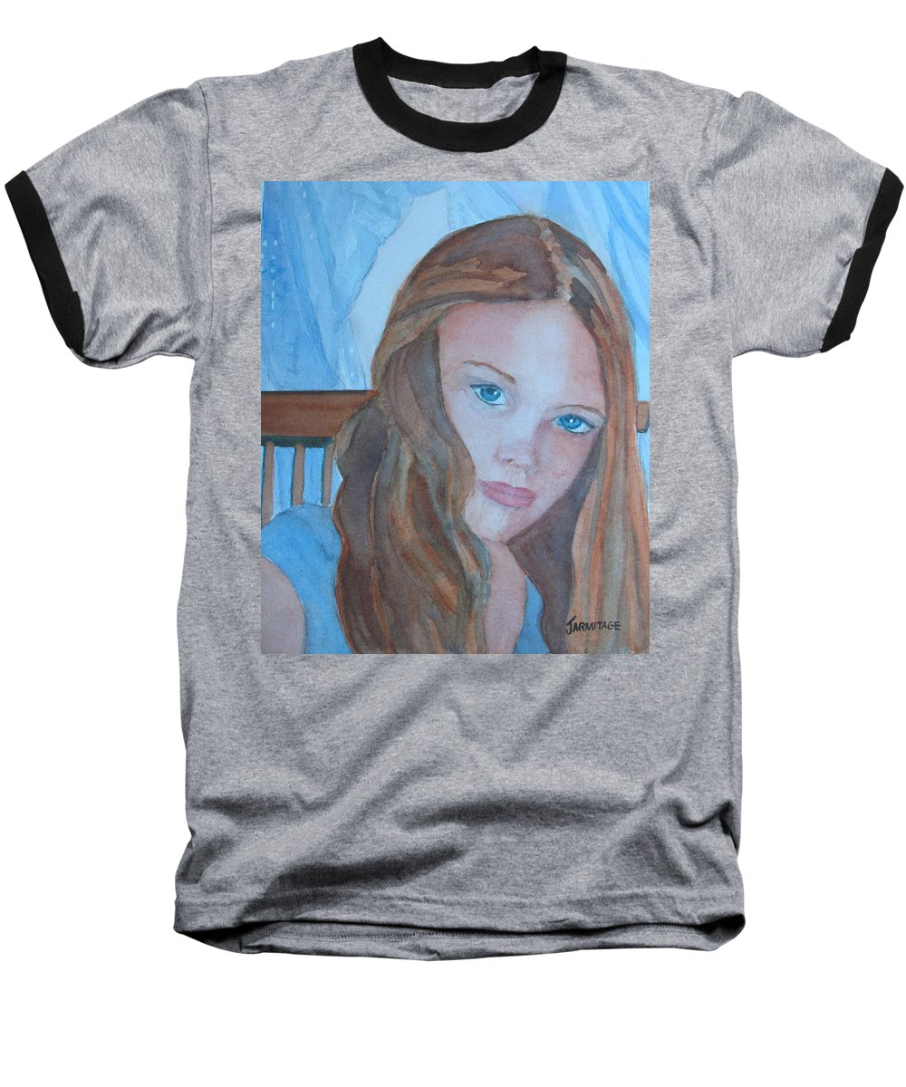 Girls Baseball T-Shirt featuring the painting Soft Steel by Jenny Armitage