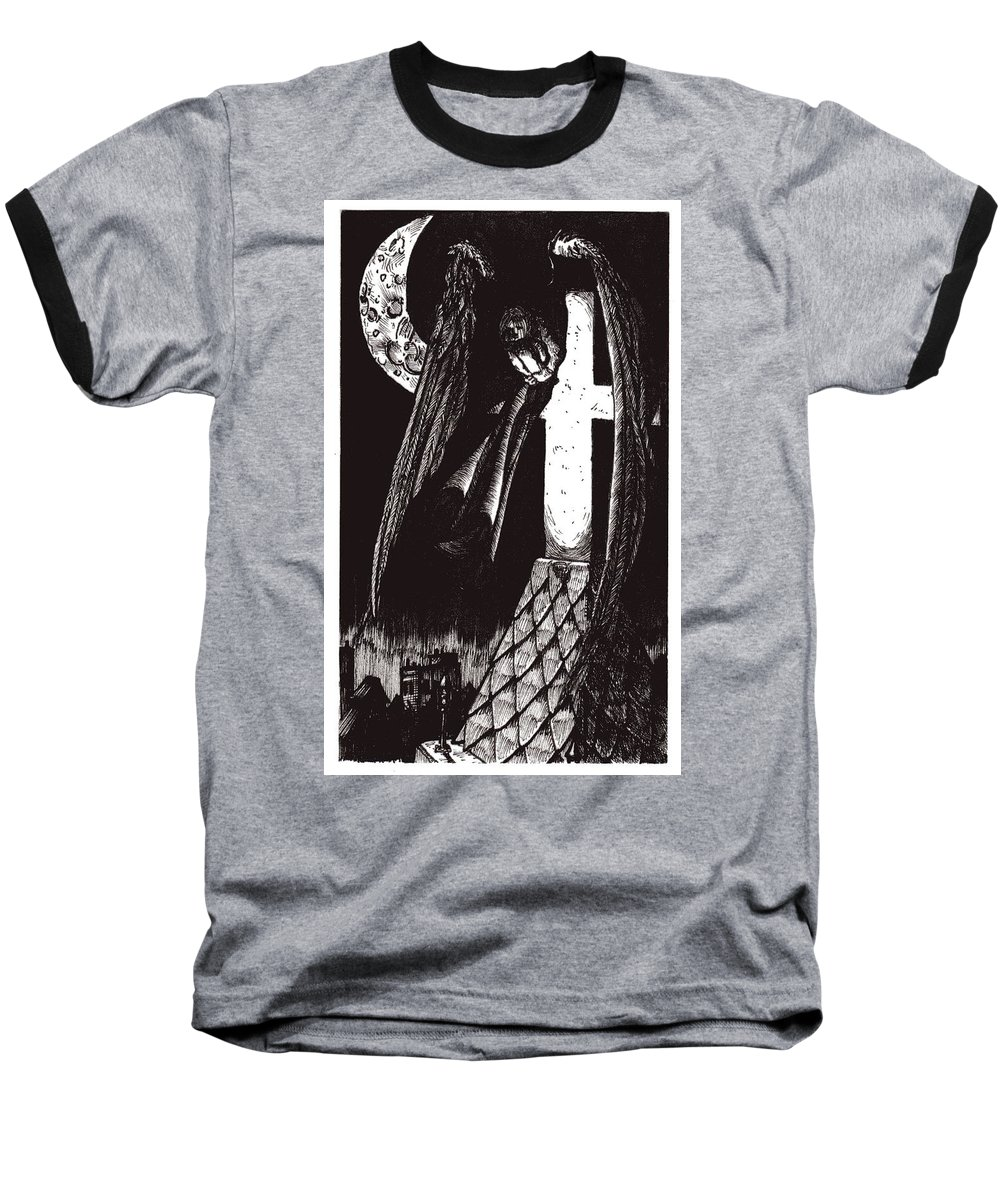 Angel Baseball T-Shirt featuring the drawing Solemn Vigil by Tobey Anderson