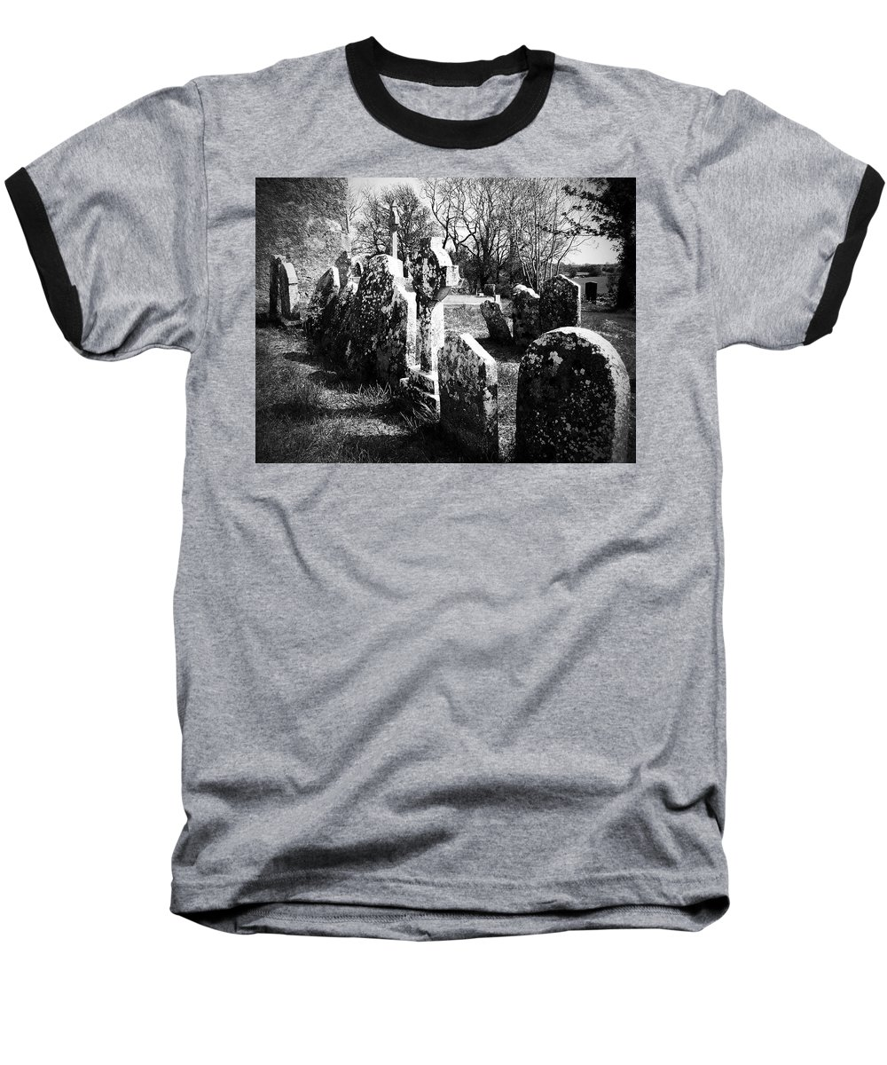 Ireland Baseball T-Shirt featuring the photograph Solitary Cross At Fuerty Cemetery Roscommon Irenand by Teresa Mucha
