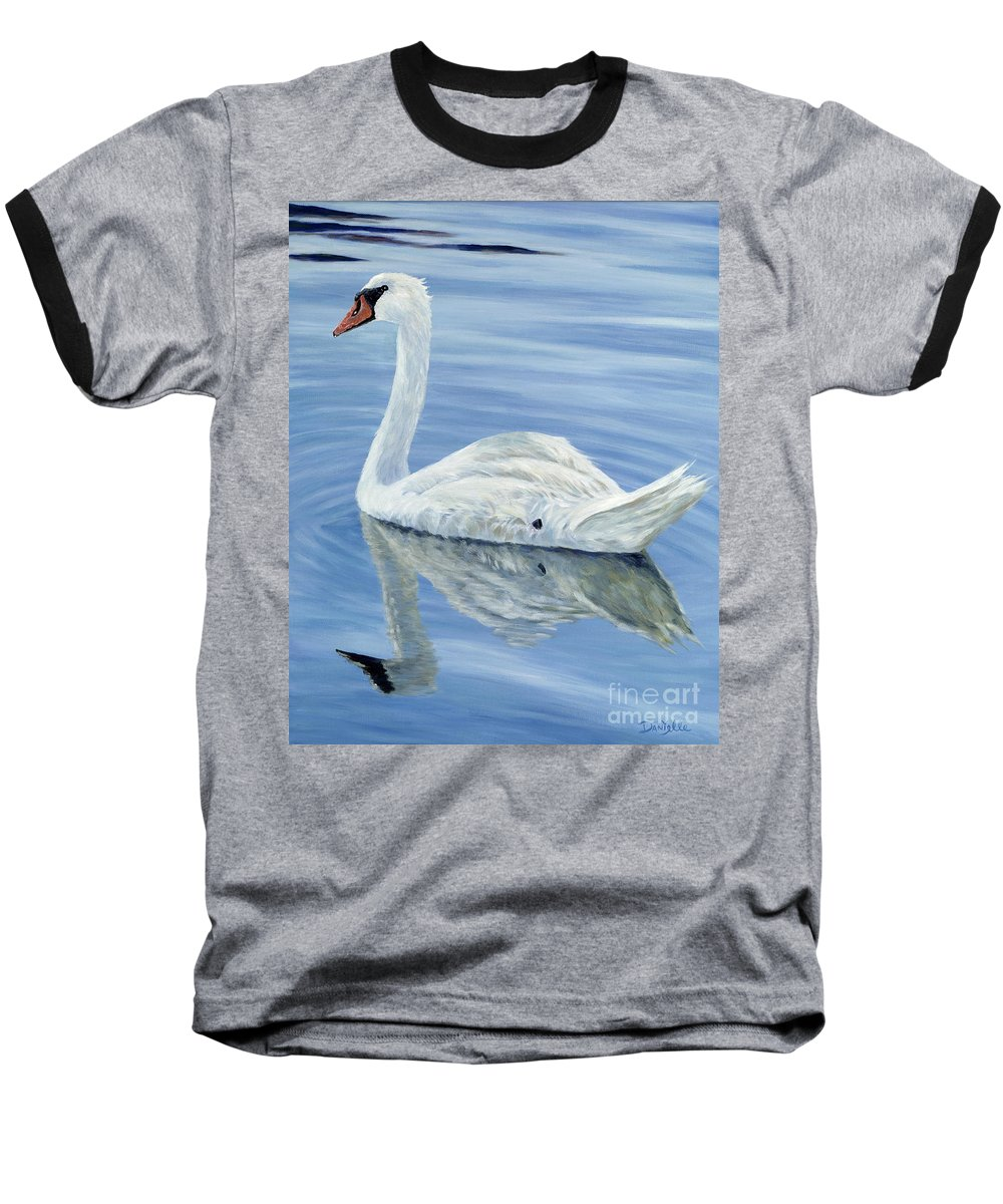 Swan Baseball T-Shirt featuring the painting Solitary Swan by Danielle Perry