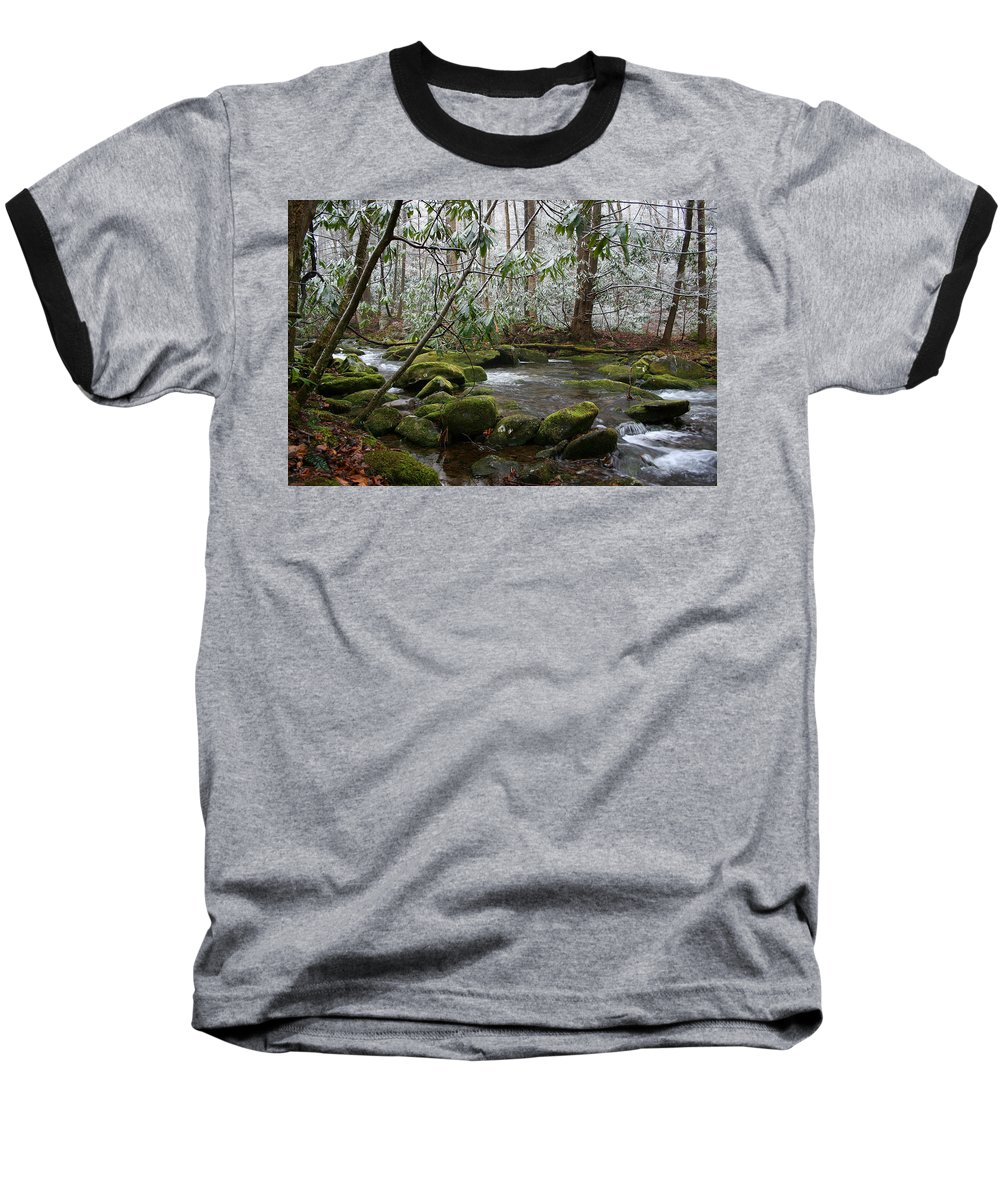 River Stream Creek Water Nature Rock Rocks Tree Trees Winter Snow Peaceful White Green Flowing Flow Baseball T-Shirt featuring the photograph Soothing by Andrei Shliakhau