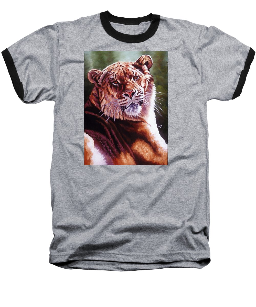 Hybrid Baseball T-Shirt featuring the painting Sophie The Liger by Barbara Keith