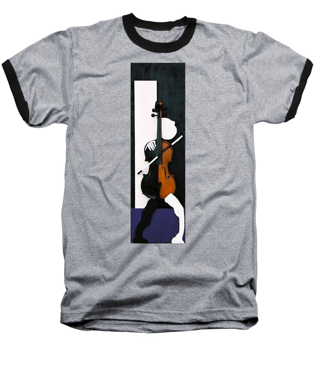 Violin Baseball T-Shirt featuring the sculpture Soul Of Music by Steve Karol