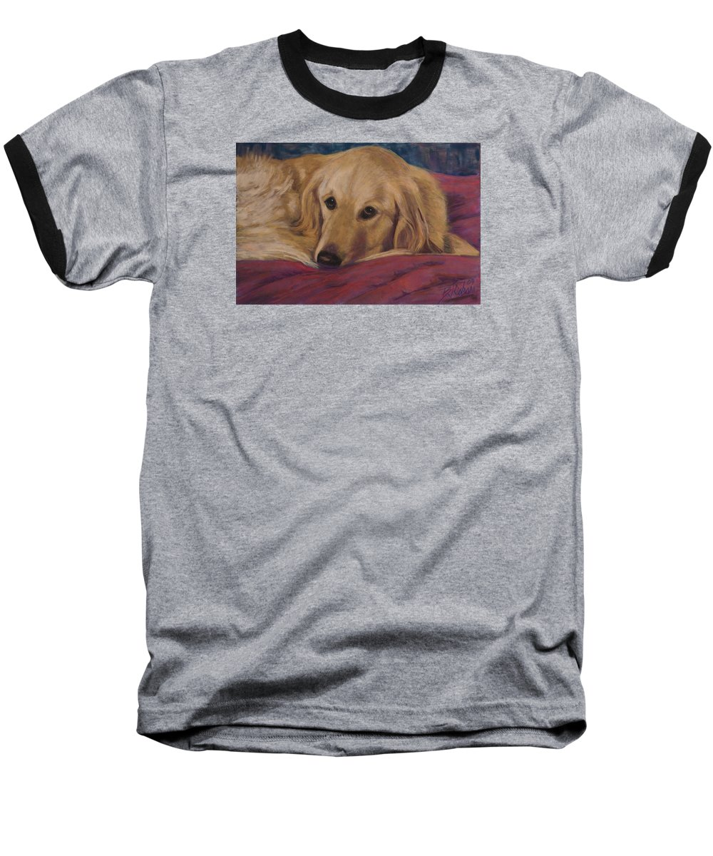 Dogs Baseball T-Shirt featuring the painting Soulfull Eyes by Billie Colson