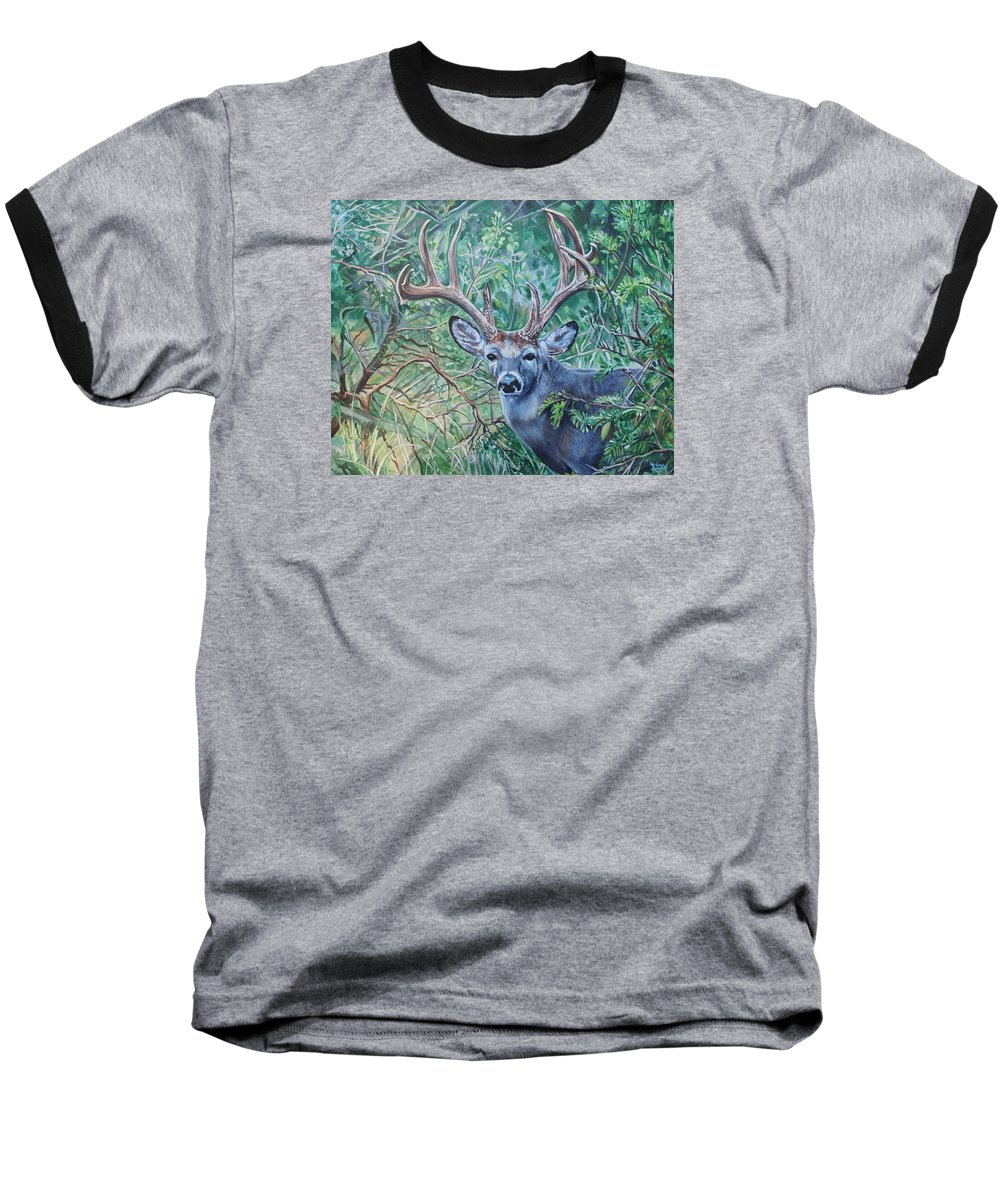 Deer Baseball T-Shirt featuring the painting South Texas Deer In Thick Brush by Diann Baggett